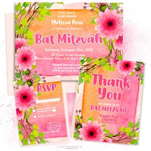 Pink Flowers Watercolor Bat Mitzvah Invitation Suite by Webgrrl