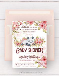 Baby Panda Cherry Blossom Baby Shower Invitation by Webgrrl
